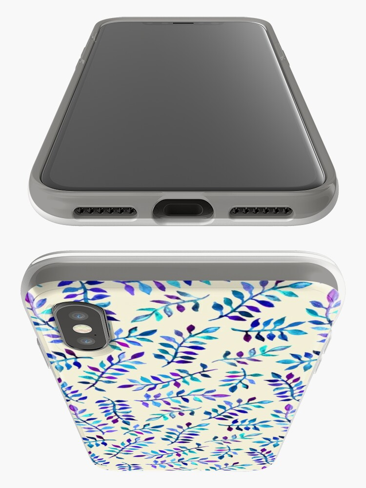 Alternate view of Hand Painted Purple & Aqua Leaf Pattern on Cream iPhone Case & Cover