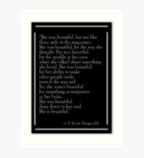 """F. Scott Fitzgeralds """"Sie war schön"""" Kunstdruck"""