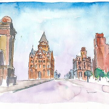 Syracuse USA New York State Impressionistic Watercolor by artshop77
