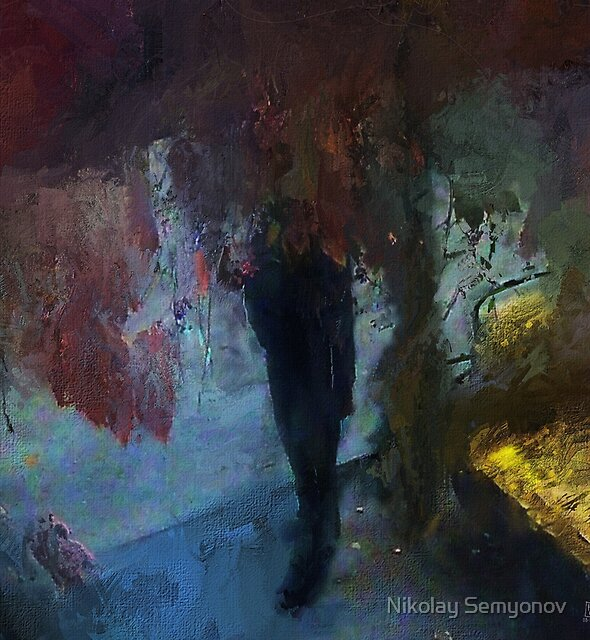 man hiding in wild grapes by Nikolay Semyonov