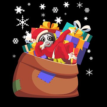 Santa Sloth - Funny Cute Christmas Holiday by PrintPress