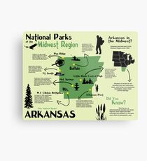 Arkansas National Parks Infographic Map  Metal Print