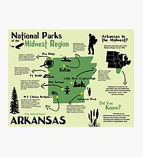 Arkansas National Parks Infographic Map  Photographic Print