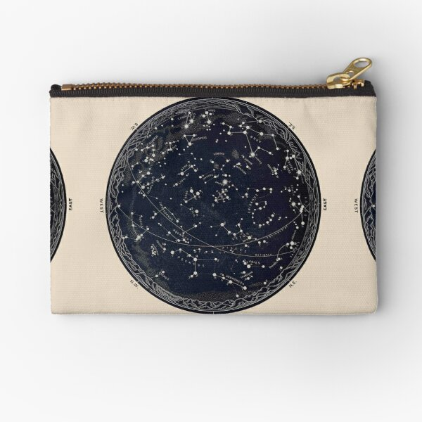 Antique Map of the Night Sky, 19th century astronomy Zipper Pouch