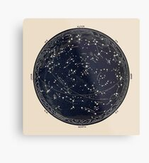 Antique Map of the Night Sky, 19th century astronomy Metal Print