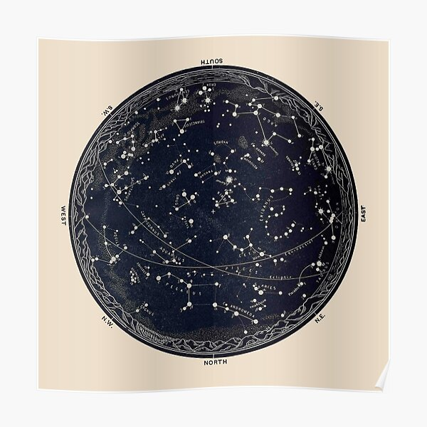 Antique Map of the Night Sky, 19th century astronomy Poster