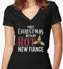 Engagement Christmas First Christmas Hot Fiance  Women's Fitted V-Neck T-Shirt