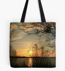 Sunset in Elbe River Tote Bag