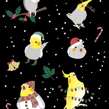 christmas cockatiel doodle pattern by FandomizedRose