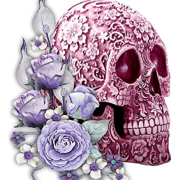 Pink Sugar Skull Day Of The Dead Purple Flowers by Atteestude