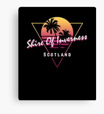 Funny 80s Retro Sunset 'Shire Of Inverness' Scotland Canvas Print