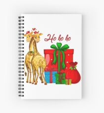 Christmas Giraffes Ho Ho Ho   Spiral Notebook