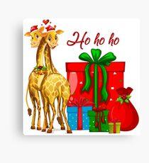 Christmas Giraffes Ho Ho Ho   Canvas Print