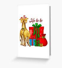 Christmas Giraffes Ho Ho Ho   Greeting Card