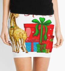 Christmas Giraffes Ho Ho Ho   Mini Skirt
