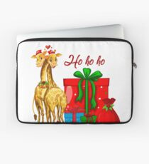 Christmas Giraffes Ho Ho Ho   Laptop Sleeve