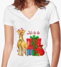 Christmas Giraffes Ho Ho Ho   Women's Fitted V-Neck T-Shirt