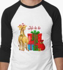 Christmas Giraffes Ho Ho Ho   Men's Baseball ¾ T-Shirt