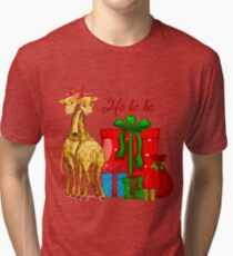 Christmas Giraffes Ho Ho Ho   Tri-blend T-Shirt