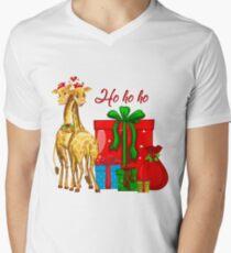 Christmas Giraffes Ho Ho Ho   Men's V-Neck T-Shirt