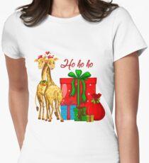 Christmas Giraffes Ho Ho Ho   Women's Fitted T-Shirt