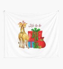 Christmas Giraffes Ho Ho Ho   Wall Tapestry