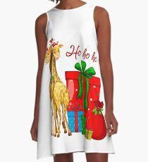 Christmas Giraffes Ho Ho Ho   A-Line Dress