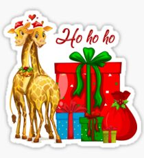 Christmas Giraffes Ho Ho Ho   Sticker