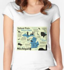 Michigan National Parks Infographic Map  Women's Fitted Scoop T-Shirt