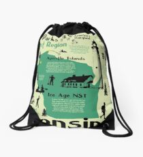Wisconsin National Parks Infographic Map Drawstring Bag