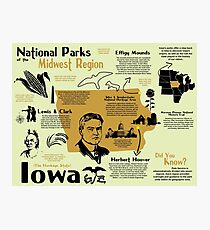 Iowa National Parks Infographic Map Photographic Print