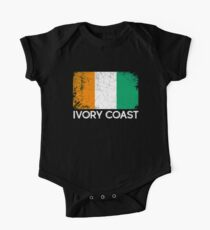 Ivorian Flag Design | Vintage Made In Ivory Coast Gift One Piece - Short Sleeve
