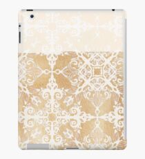 White Doodle Pattern on Sepia Ink iPad Case/Skin
