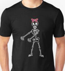 Halloween Pink Hair Bow Skeleton Floss Dancer For Girls Unisex T-Shirt