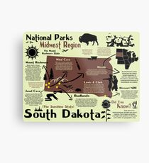 South Dakota National Parks Infographic Map Metal Print