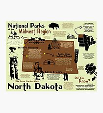 North Dakota National Parks Infographic Map Photographic Print