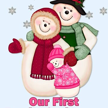 Snowman Snow Family First Christmas - Pink by SpiceTree