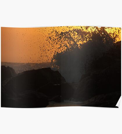 waves break as the sun rises Poster