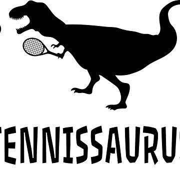 Tennis Dinosaur T-Rex Shirt Gift Christmas Present by Rueb