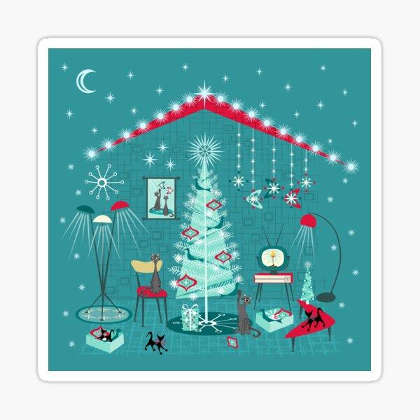 Retro Holiday Decorating II Sticker