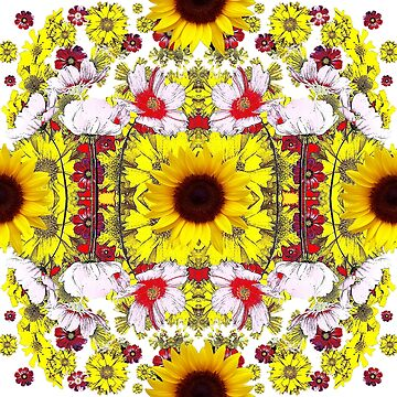 YELLOW BOHO SUNFLOWER GARDEN  by sharlesart