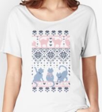 Fair Isle Knitting Cats Love // dark violet background white and violet kitties and details Women's Relaxed Fit T-Shirt