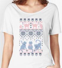 Fair Isle Knitting Cats Love // fond violet foncé minou blanc et violet T-shirts coupe relax
