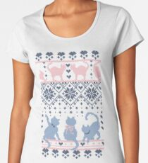 Fair Isle Knitting Cats Love // dark violet background white and violet kitties and details Women's Premium T-Shirt