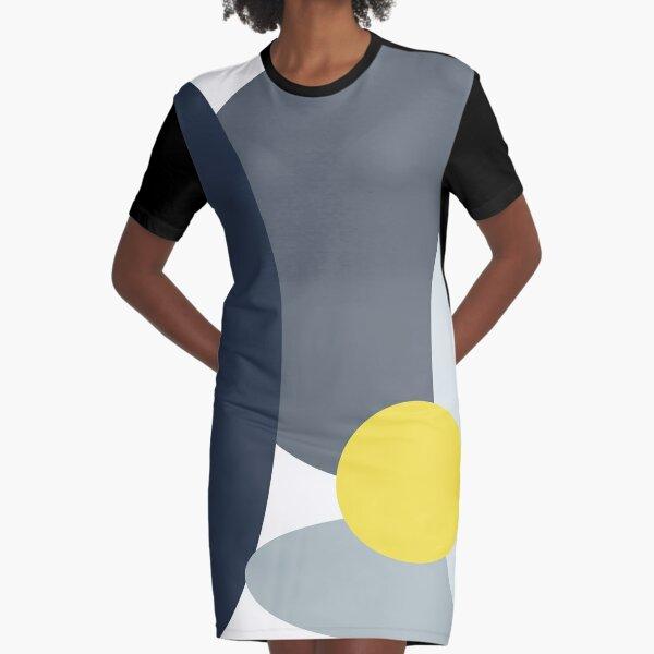 4am Yellow Full Moon Graphic T-Shirt Dress