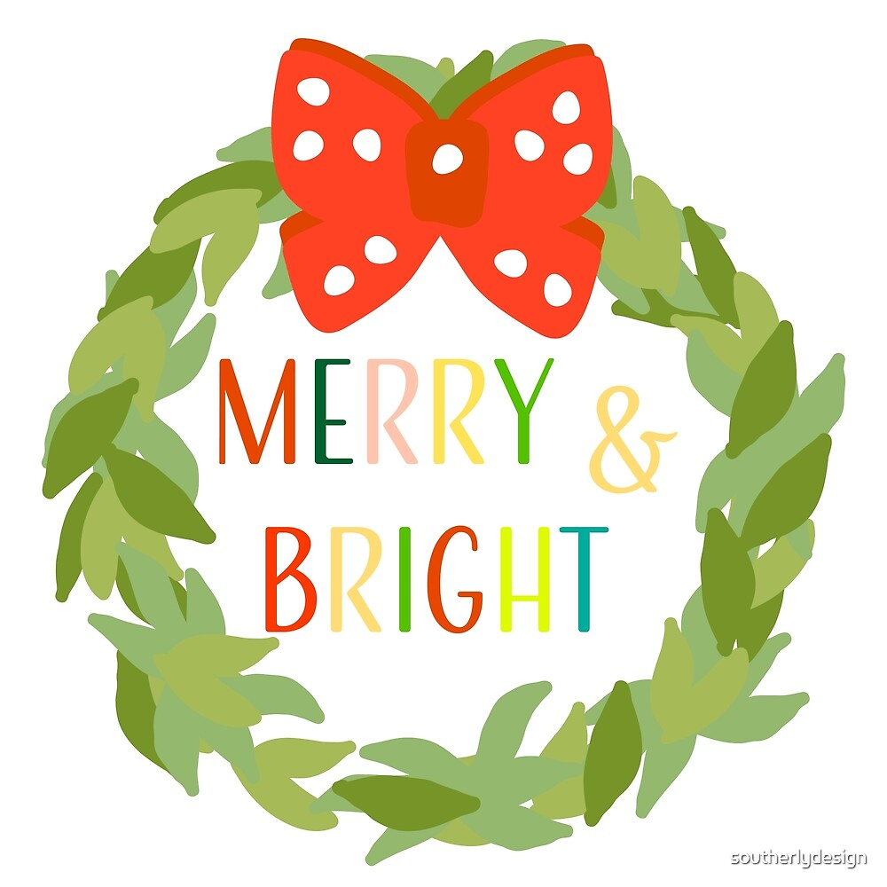 Merry & Bright Wreath by southerlydesign