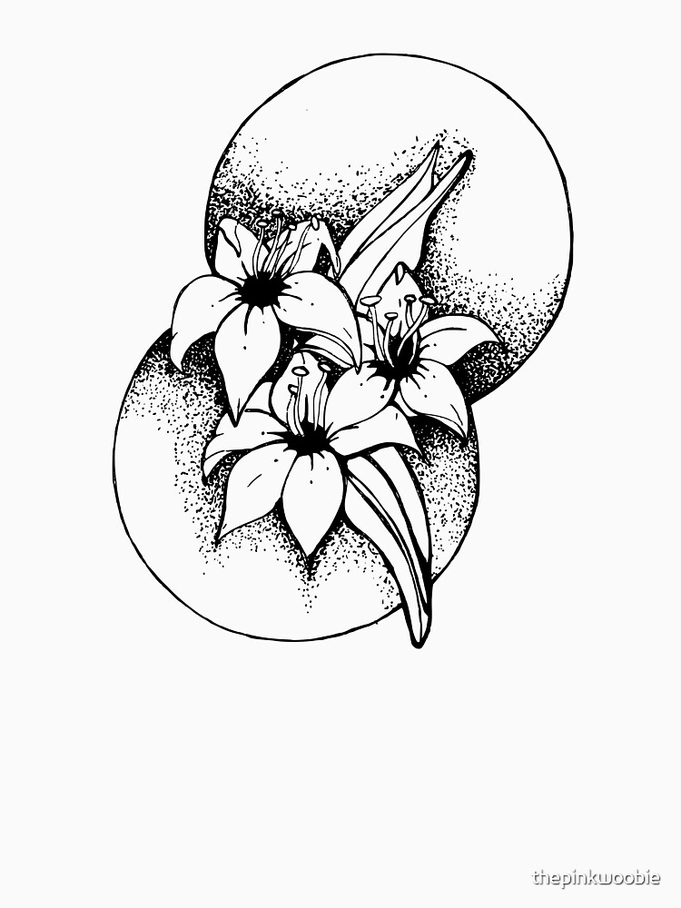 Black and white Lilies- Geometic by thepinkwoobie