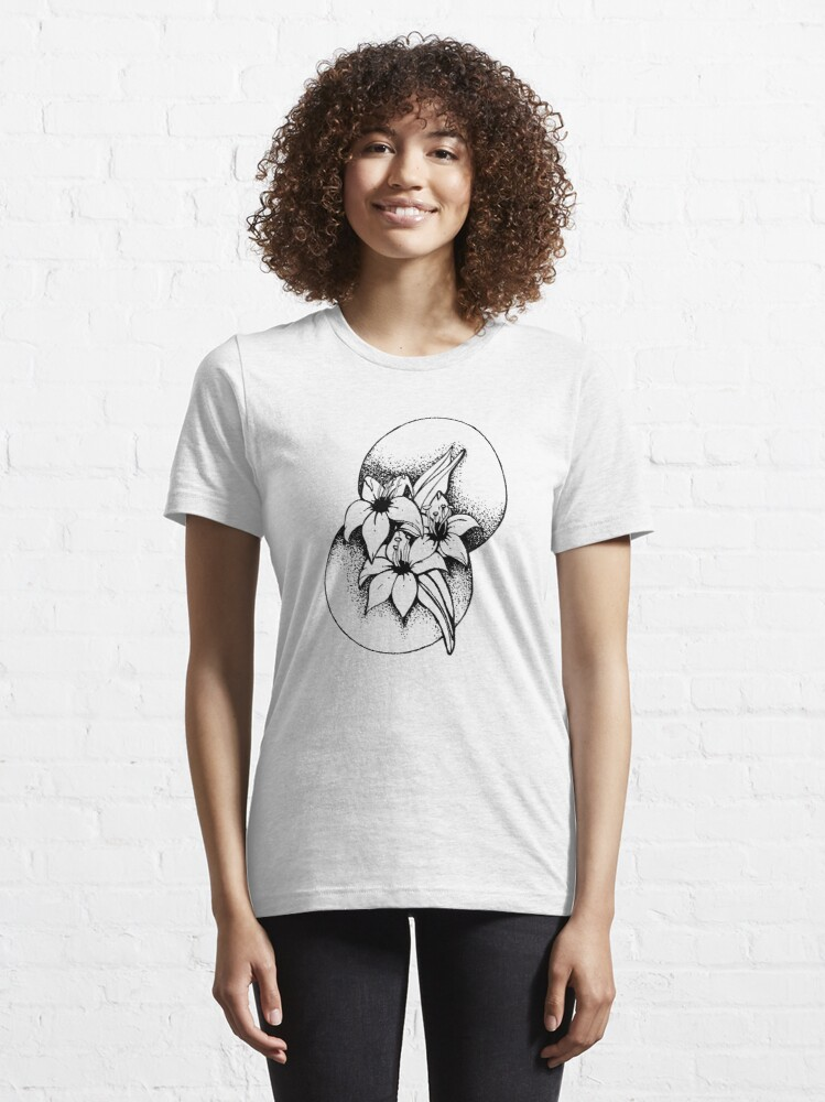 Alternate view of Black and white Lilies- Geometic Essential T-Shirt