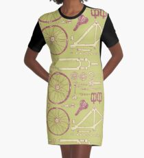 Bicycle Parts Graphic T-Shirt Dress