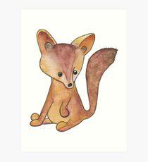 CUTE BABY FOX - Watercolor Original Artwork Art Print
